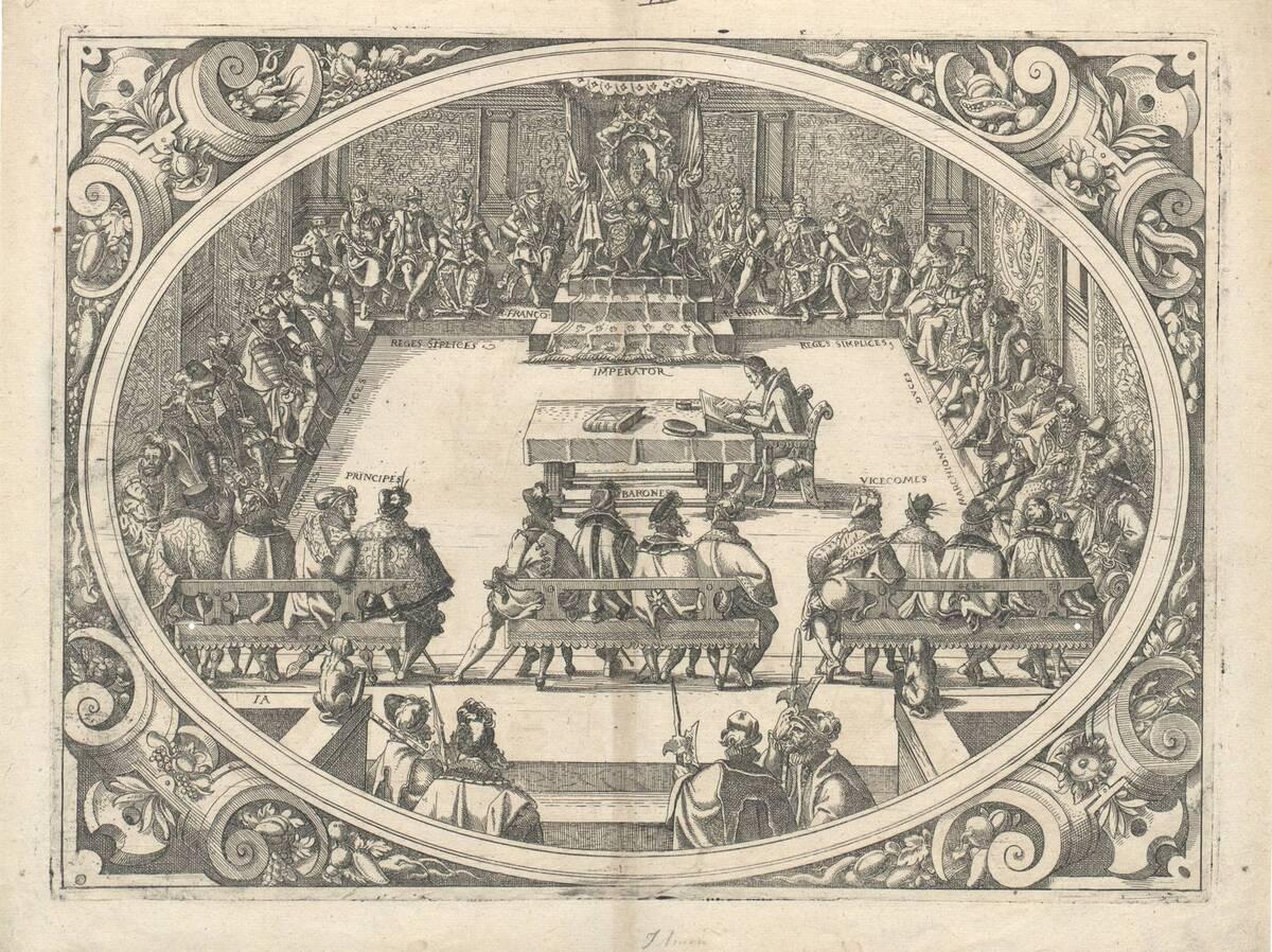 Die Versammlung unter dem Vorsitz des Kaisers (aus Chasseneux Catalogus gloriae mundi, Frankfurt 1579) (vom Bearbeiter vergebener Titel) von Amman, Jost