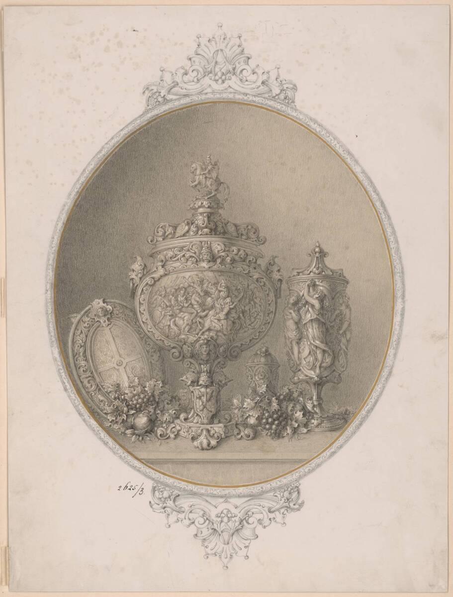 Set mit Prunkgeschirr (vom Bearbeiter vergebener Titel) von Pfannenschwarz, H.