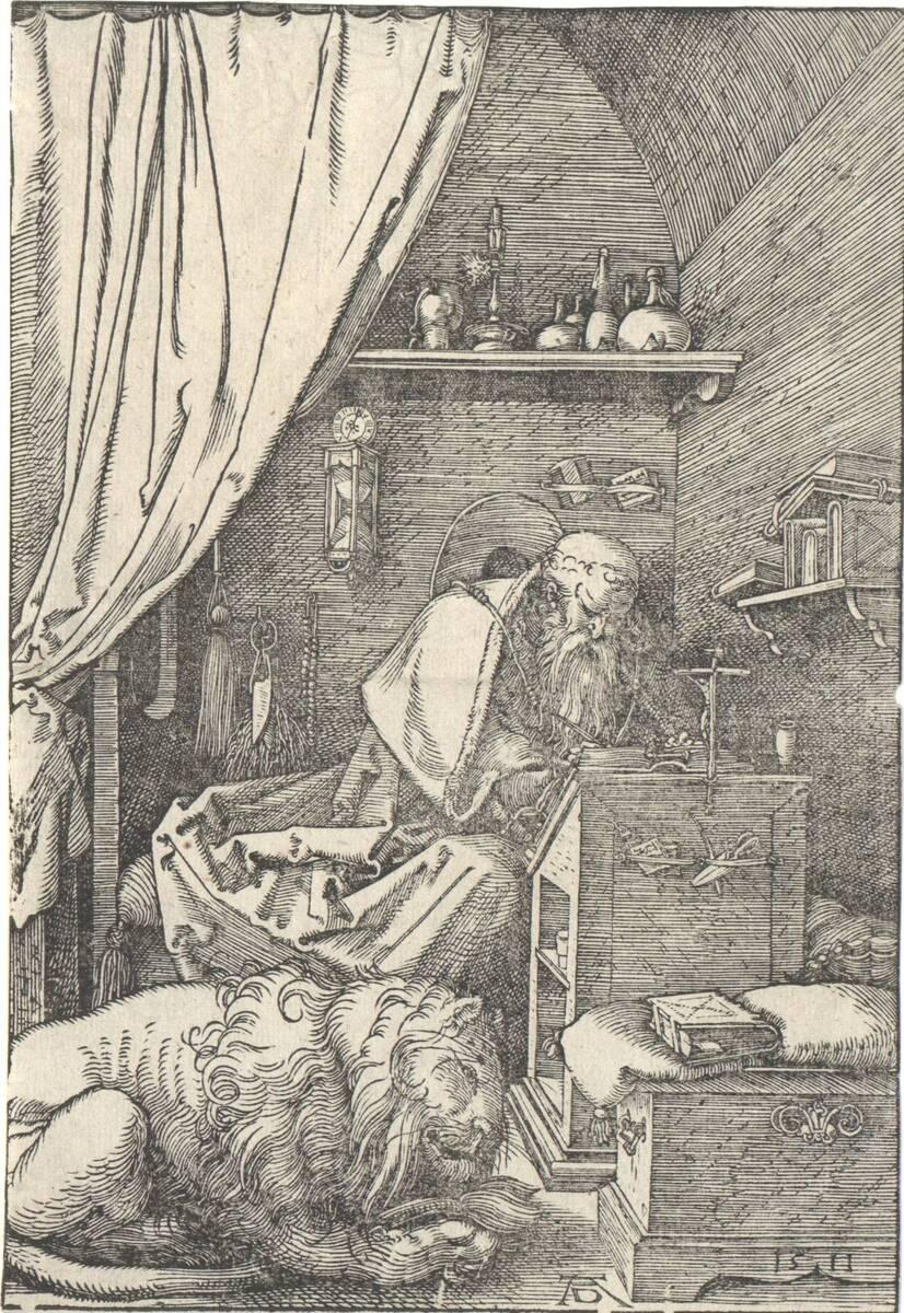 Der heilige Hieronymus in der Zelle, Zustand d (1596 - 1600) (vom Bearbeiter vergebener Titel) von Dürer, Albrecht
