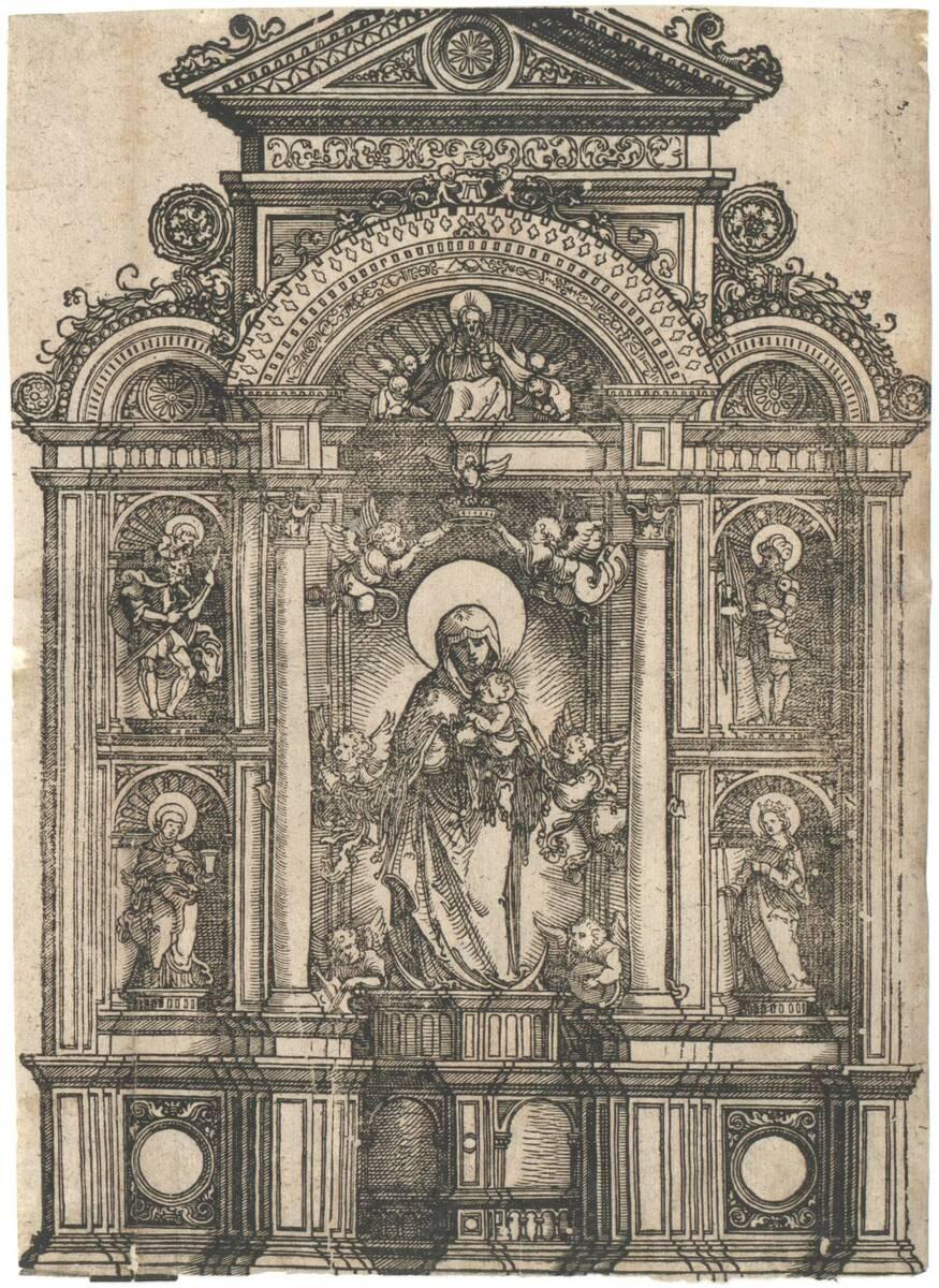 Altar mit Maria mit dem Kind, den Heiligen Christophoruns, Maria Magdalena, Georg und Katharina (vom Bearbeiter vergebener Titel) von Altdorfer, Albrecht