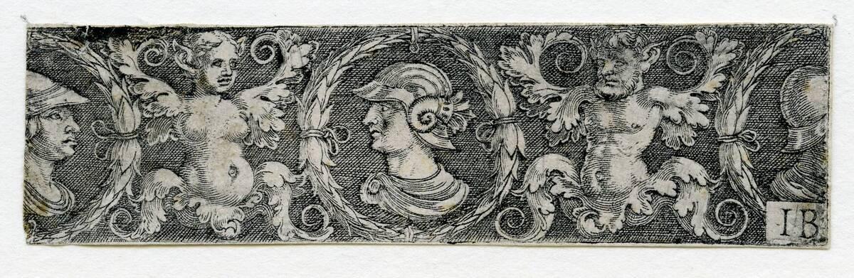 Ornament mit drei Medaillons mit männlichen Büsten. (vom Bearbeiter vergebener Titel) von Pencz, Georg
