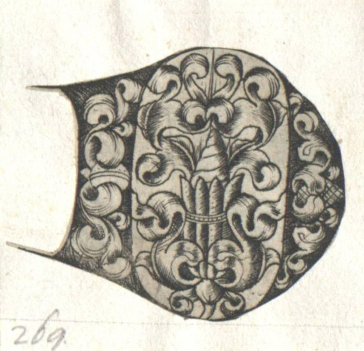 Der Buchstabe D eines gotischen Alphabetes in der Art des I. van Meckenem, c. 1480, ausgeschnitten (vom Bearbeiter vergebener Titel) von Anonym