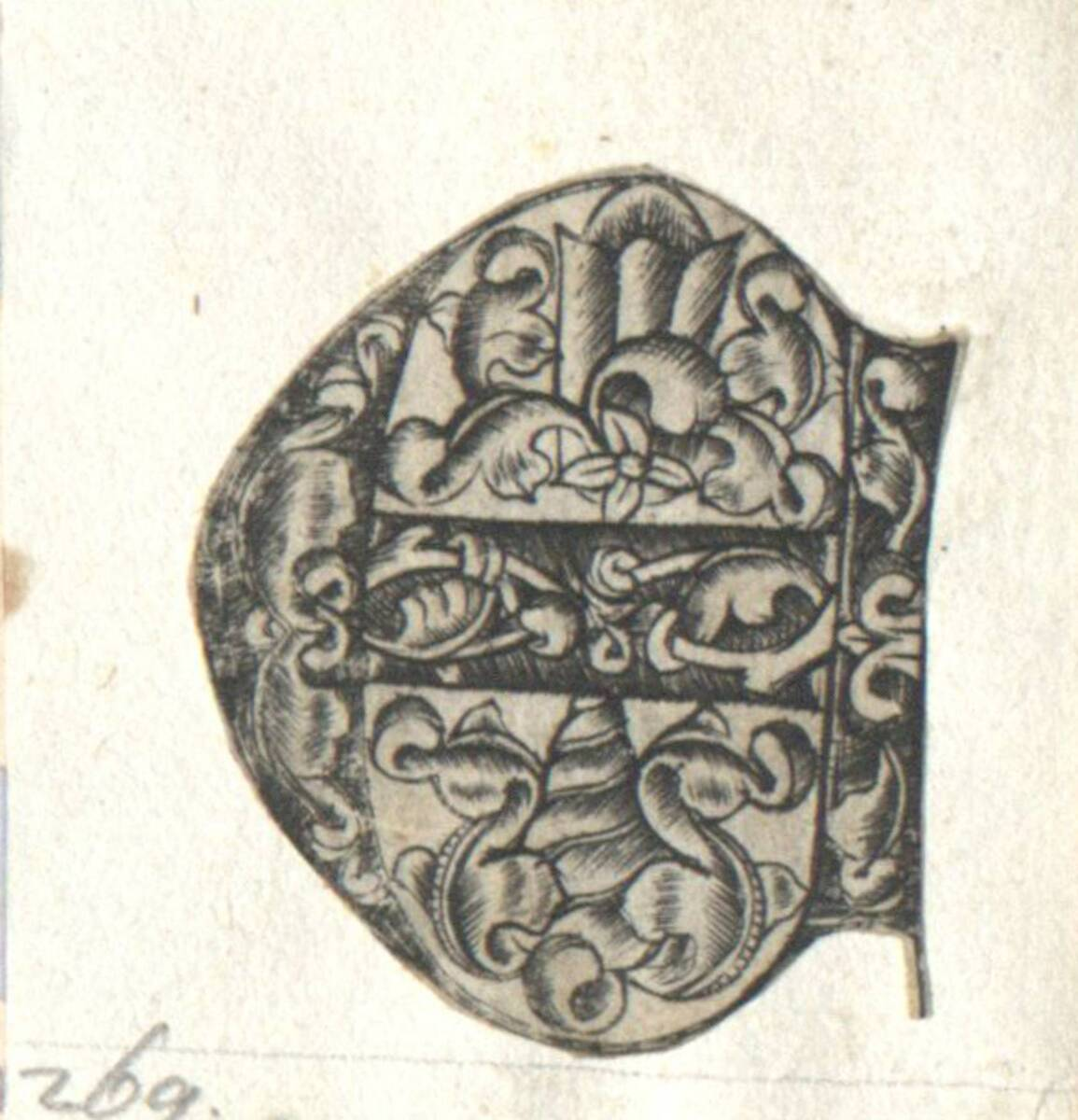 Der Buchstabe E eines gotischen Alphabetes in der Art des I. van Meckenem, c. 1480, ausgeschnitten (vom Bearbeiter vergebener Titel) von Anonym