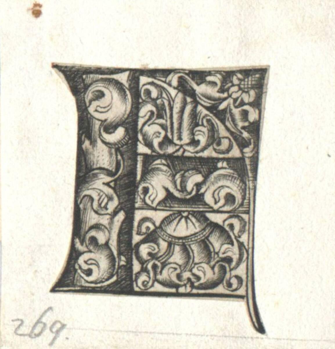 Der Buchstabe F eines gotischen Alphabetes in der Art des I. van Meckenem, c. 1480, ausgeschnitten (vom Bearbeiter vergebener Titel) von Anonym