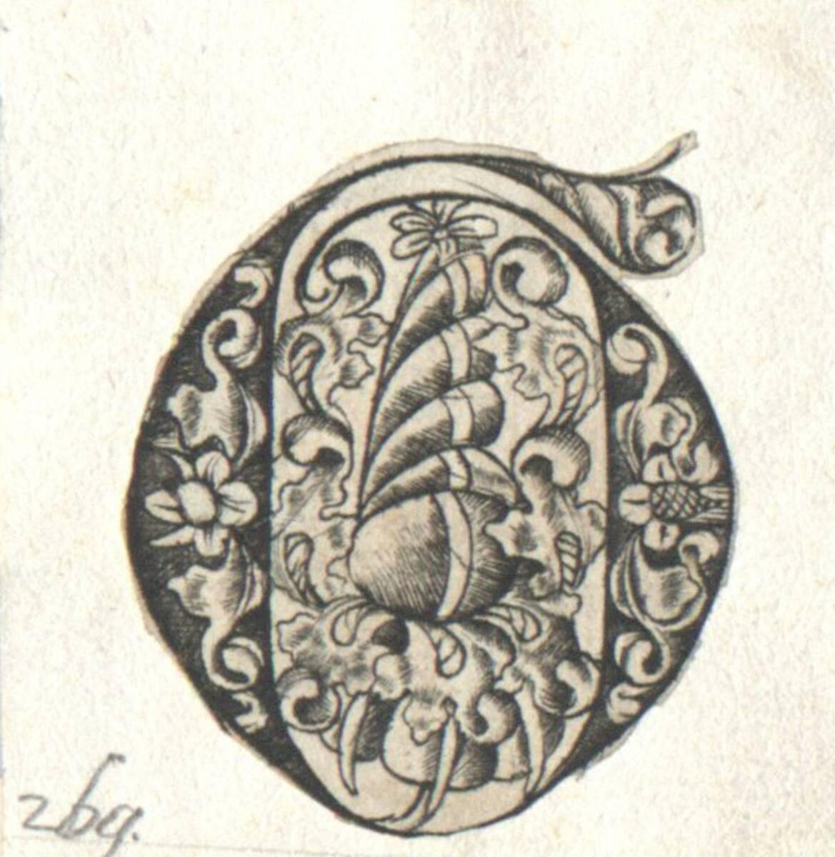 Der Buchstabe G eines gotischen Alphabetes in der Art des I. van Meckenem, c. 1480, ausgeschnitten (vom Bearbeiter vergebener Titel) von Anonym