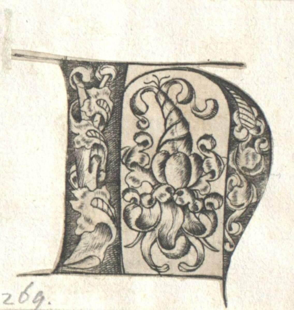 Der Buchstabe H eines gotischen Alphabetes in der Art des I. van Meckenem, c. 1480, ausgeschnitten (vom Bearbeiter vergebener Titel) von Anonym