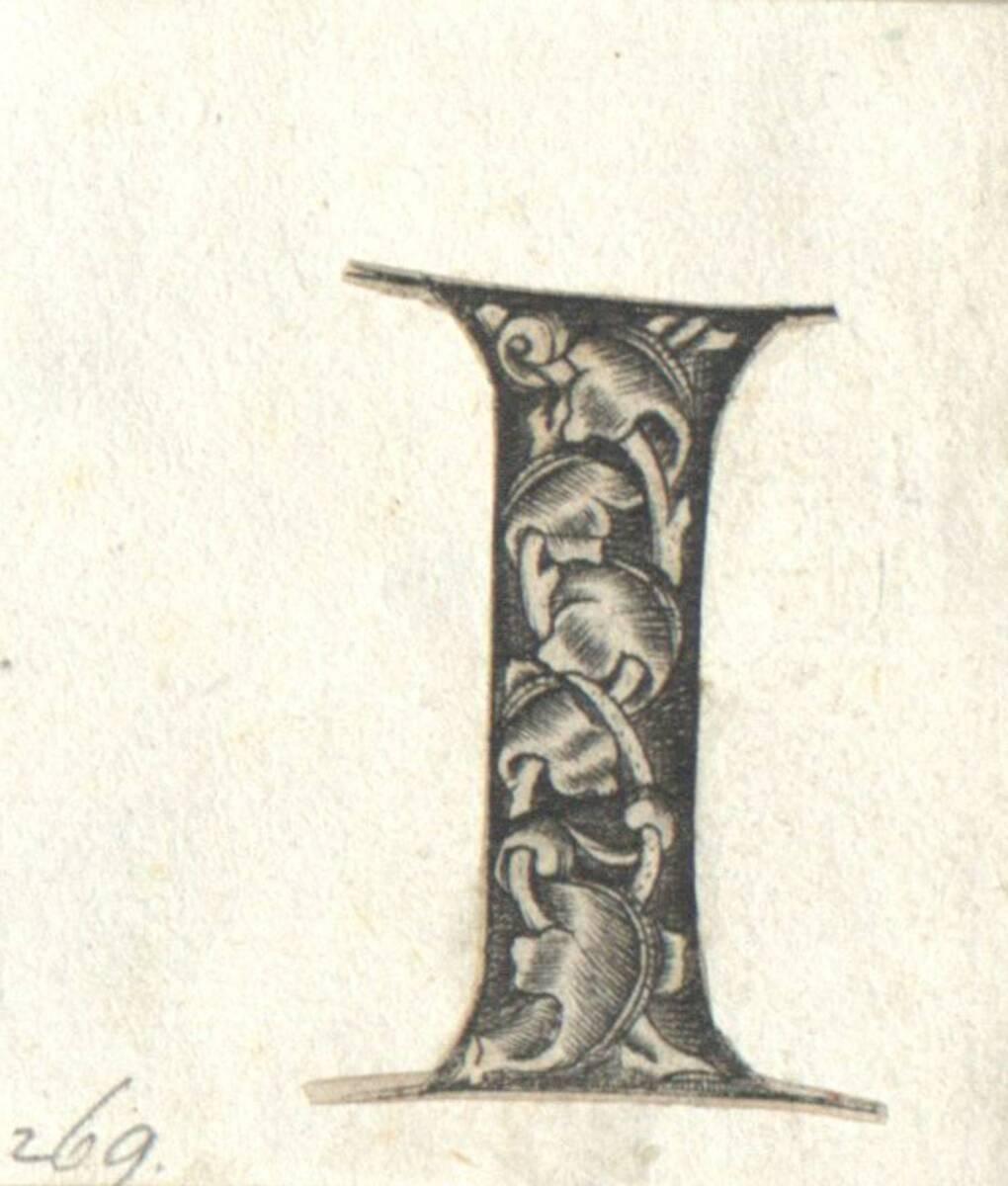 Der Buchstabe I eines gotischen Alphabetes in der Art des I. van Meckenem, c. 1480, ausgeschnitten (vom Bearbeiter vergebener Titel) von Anonym
