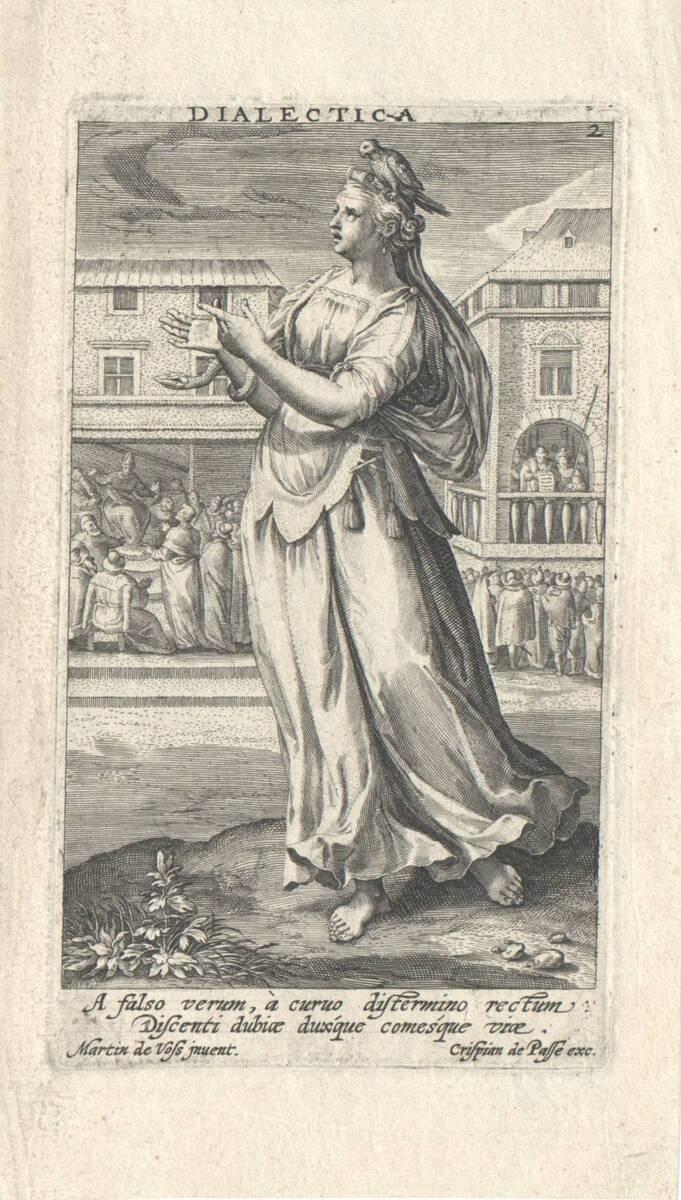 Die Dialektik, Blatt 2 aus der Folge der sieben freien Künste, herausgegeben von C. de Passe (vom Bearbeiter vergebener Titel) von Vos, Marten de