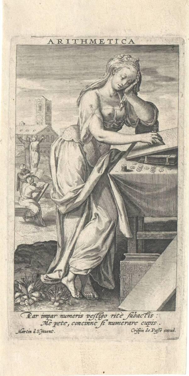 Die Arithmetik, Blatt 5 aus der Folge der sieben freien Künste, herausgegeben von C. de Passe (vom Bearbeiter vergebener Titel) von Vos, Marten de