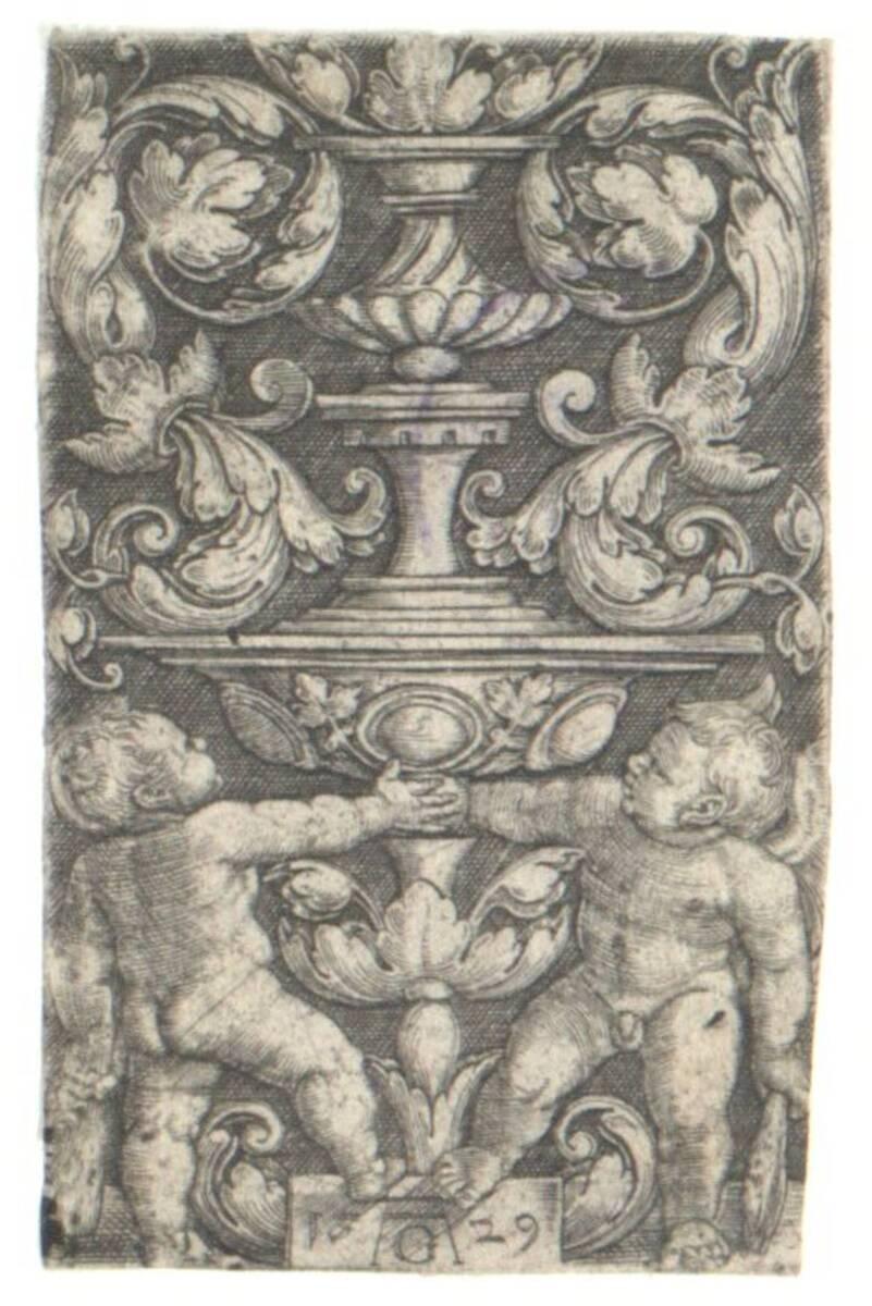 Ornament mit zwei Kindern, die einen Doppelpokal halten, der obere Teil nach Hans Sebald Beham (B. 238) (vom Bearbeiter vergebener Titel) von Aldegrever, Heinrich