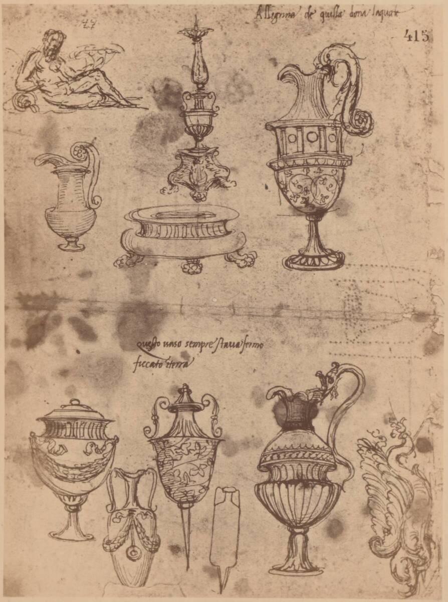 Fotografie einer Entwurfzeichnung von Baldassare Peruzzi (vom Bearbeiter vergebener Titel)