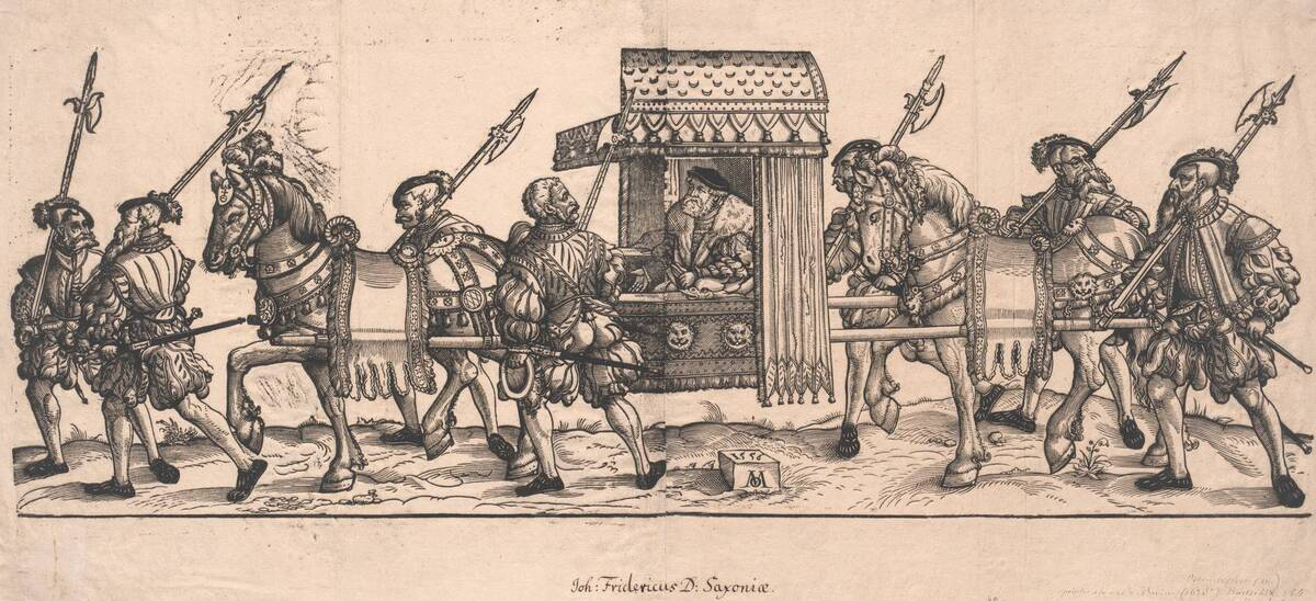 Friedrich II, Kurfürst von Sachsen in einer von Pferden getragenen Sänfte, begleitet von Landsknechten, der Kopf von Friedrich II ist von einer separaten Platte gedruckt (vom Bearbeiter vergebener Titel) von Ostendorfer, Michael
