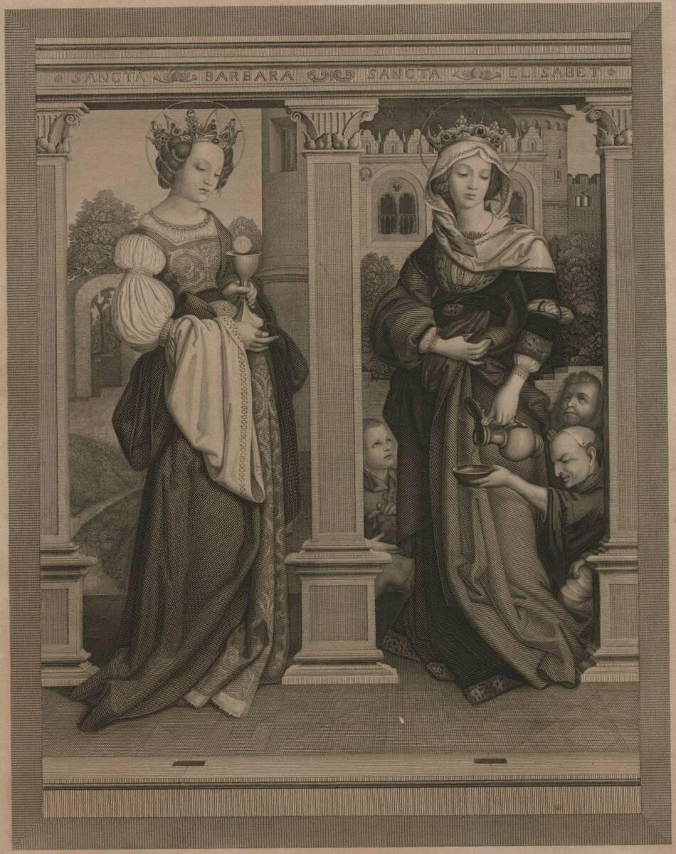 Stich nach einer Malerei des Sebastianaltars in München, mit der hl. Barbara und der hl. Elisabeth, von Hans Holbein (der Ältere) (vom Bearbeiter vergebener Titel) von Anonym