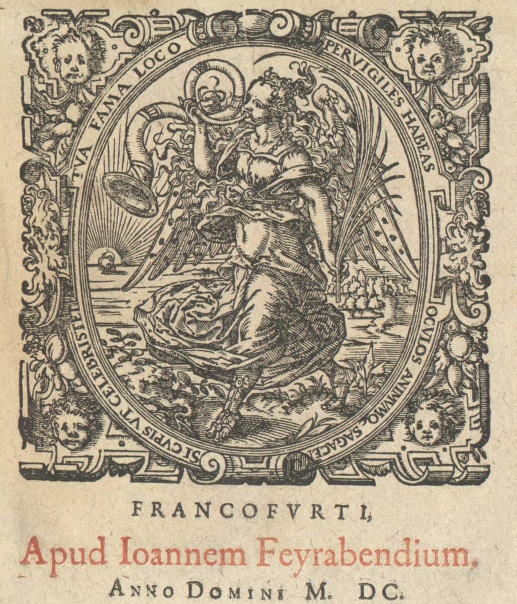 Signet des Joh. Feierabend, Fama nach rechts schreitend, in der Linken die Palme (vom Bearbeiter vergebener Titel) von Anonym