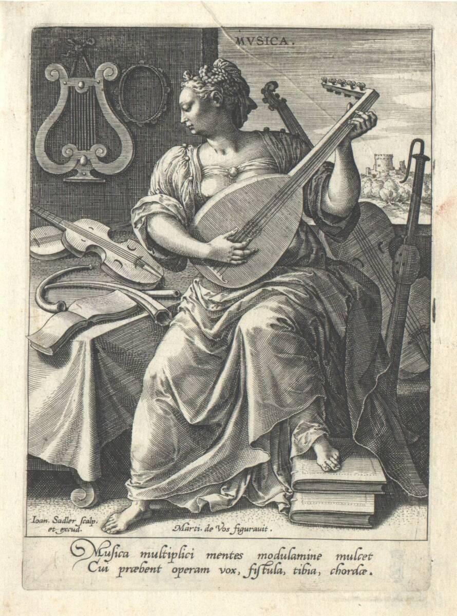 Die Musik aus der Folge der sieben freien Künste, herausgegeben von Johannes Sadeler (vom Bearbeiter vergebener Titel) von Vos, Marten de