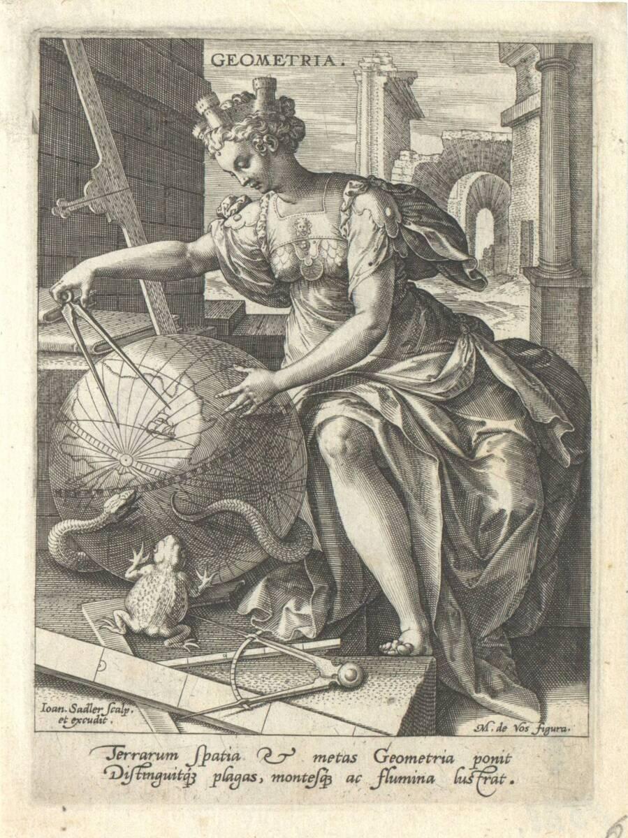Die Geometrie aus der Folge der sieben freien Künste, herausgegeben von Johannes Sadeler (vom Bearbeiter vergebener Titel) von Vos, Marten de