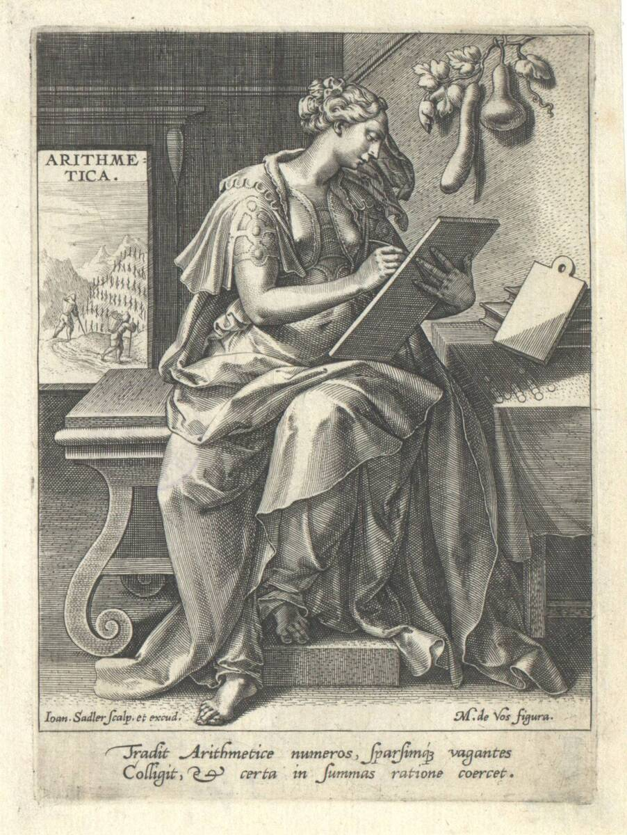 Die Arithmetik aus der Folge der sieben freien Künste, herausgegeben von Johannes Sadeler (vom Bearbeiter vergebener Titel) von Vos, Marten de