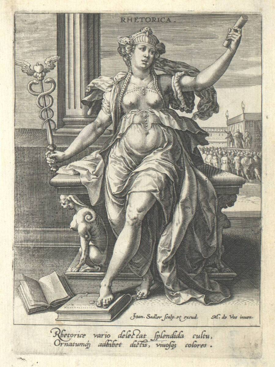 Die Rhetorik aus der Folge der sieben freien Künste, herausgegeben von Johannes Sadeler (vom Bearbeiter vergebener Titel) von Vos, Marten de