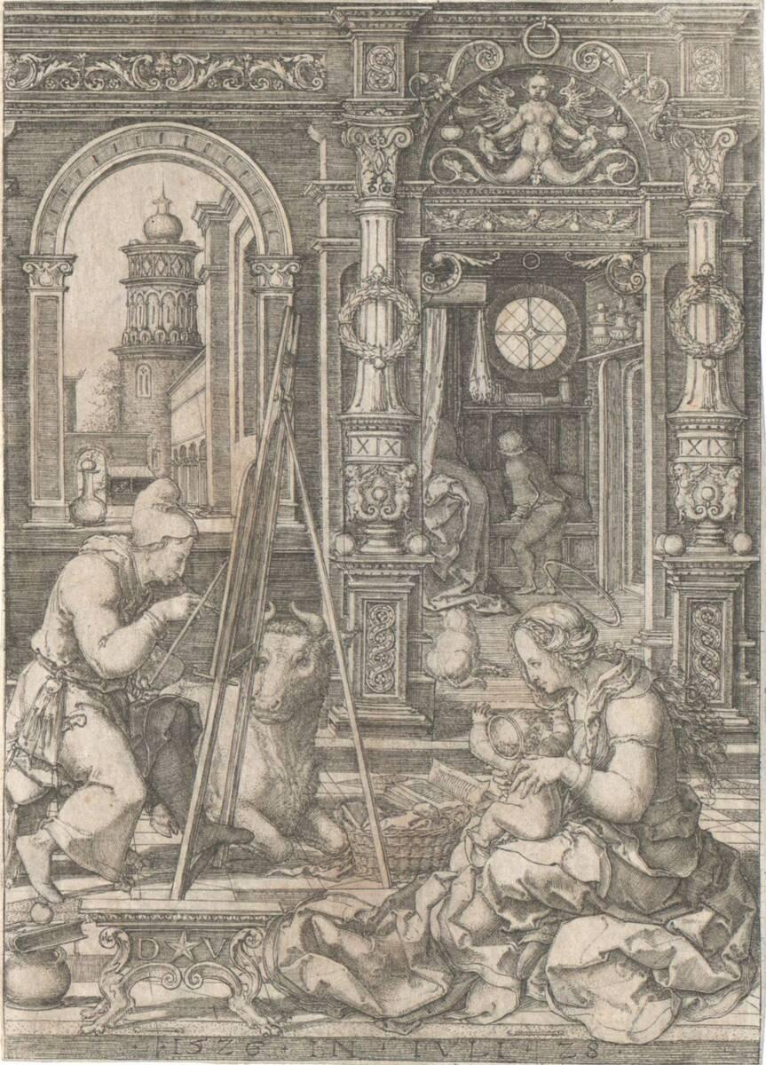 Der heilige Lucas malt das Bildnis der Madonna (vom Bearbeiter vergebener Titel) von Vellert, Dirk Jakobsz.