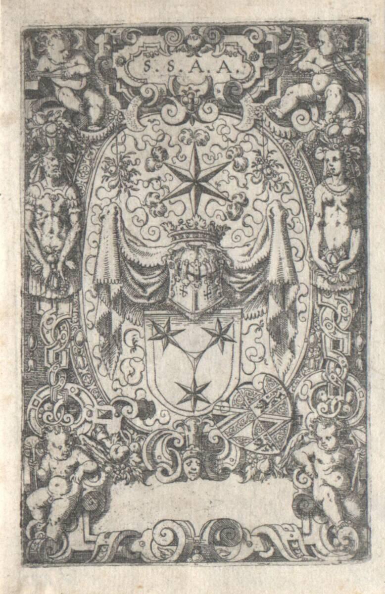 Die Wappen des Julius Geuder zum Heroltzberg, rechts unten das kleinere Wappen der Haller, erster Zustand (vom Bearbeiter vergebener Titel) von Amman, Jost