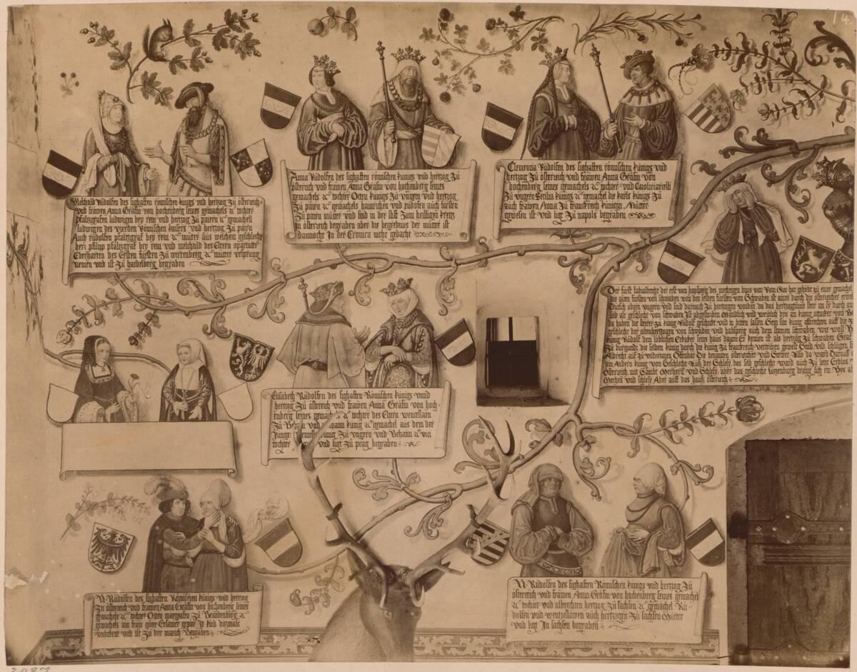 Fotografie eines Details des Habsburger-Stammbaums aus dem 16. Jahrhundert auf Schloss Tratzberg in Tirol (vom Bearbeiter vergebener Titel) von Bopp, Friedrich