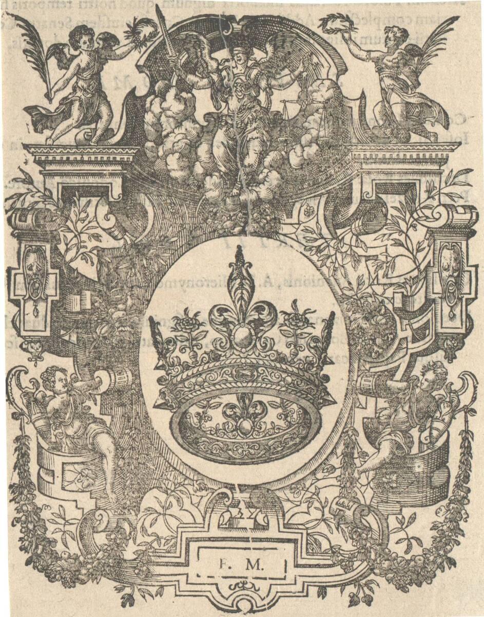 Kartusche mit den Initialen des Fred. Morel, Holzschnitt (vom Bearbeiter vergebener Titel) von Anonym