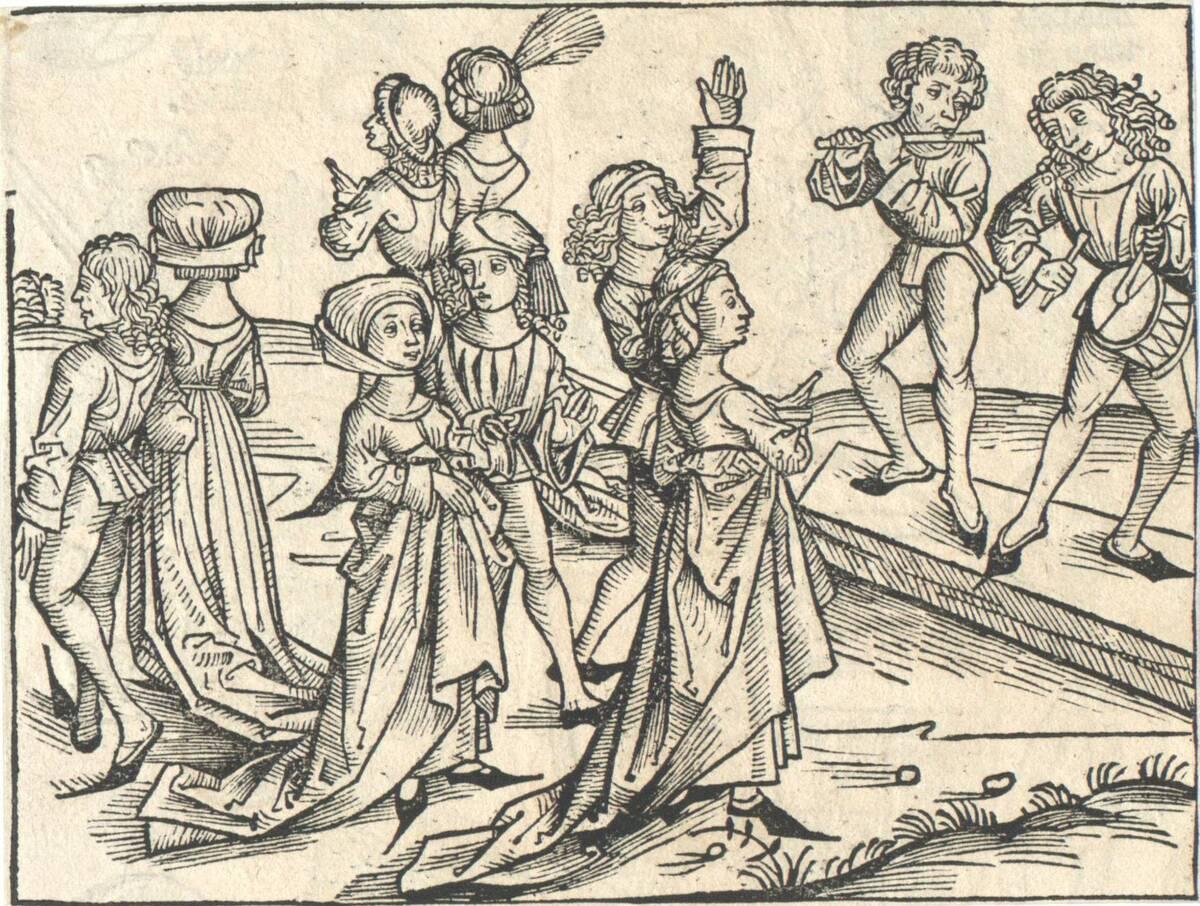 Tanzende und musizierende Paare, Illustration aus Hartman Schedel's Chronik, lat. Ausgabe, Nürnberg 1493, vormals M. Wolgemut zugeschrieben (vom Bearbeiter vergebener Titel) von Dürer, Albrecht