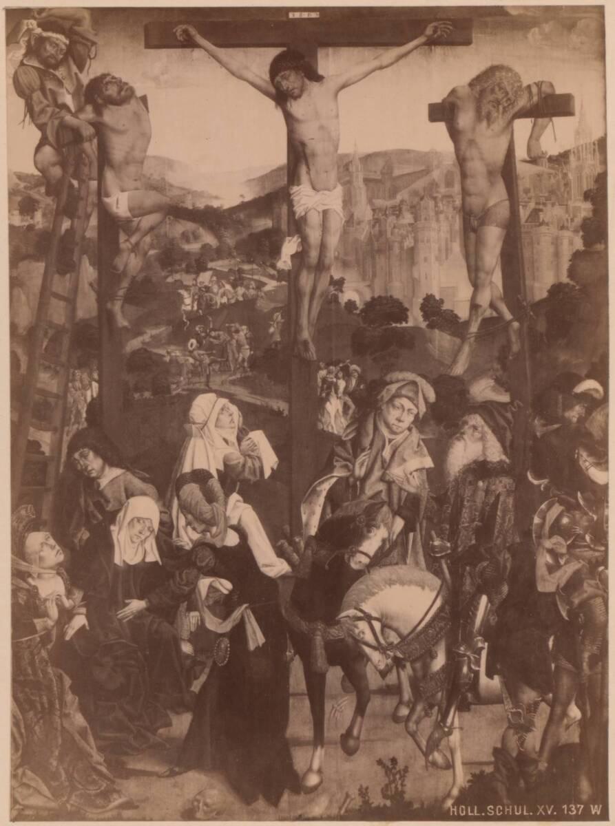 """Fotografie eines Gemäldes """"Die Kreuzigung Christi"""" von ca. 1480 im Szépmûvészeti Múzeum in Budapest von Anonym"""