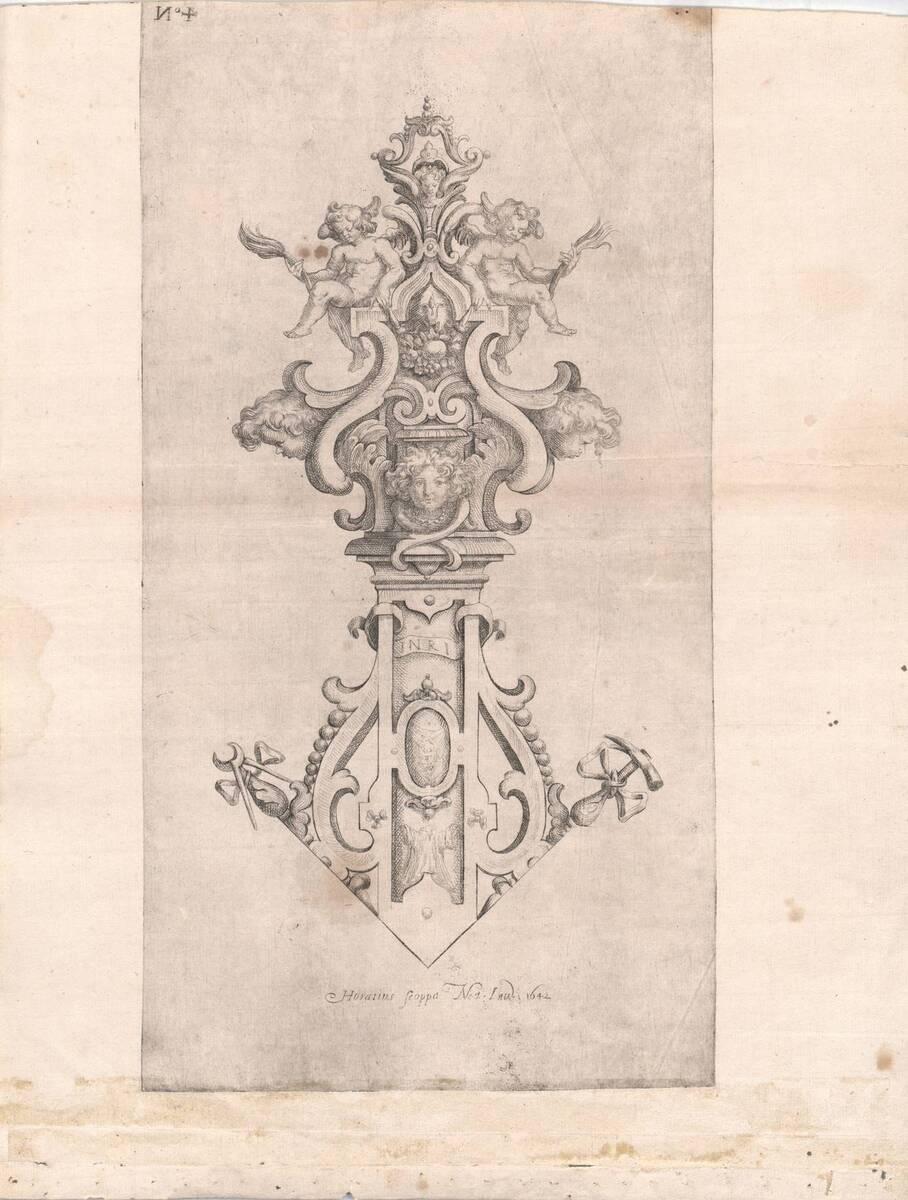 Blatt 4 aus einer Melchior Borgia gewidmeten Folge von Gefäßen und Geräten von Scoppa, Orazio