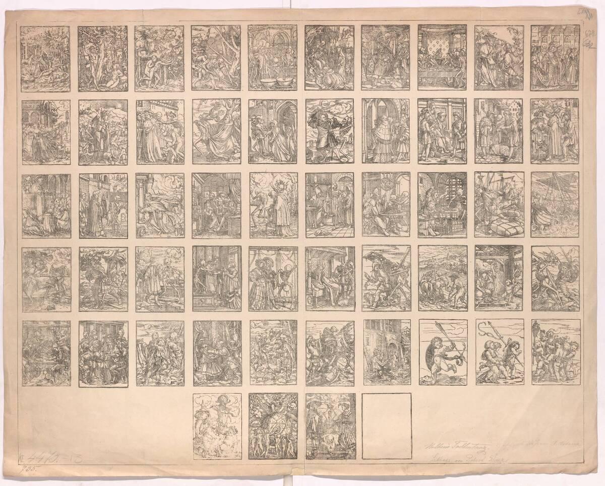 Bogen mit 53 Miniaturen nach Hans Holbeins Totentanz von Holbein, Hans