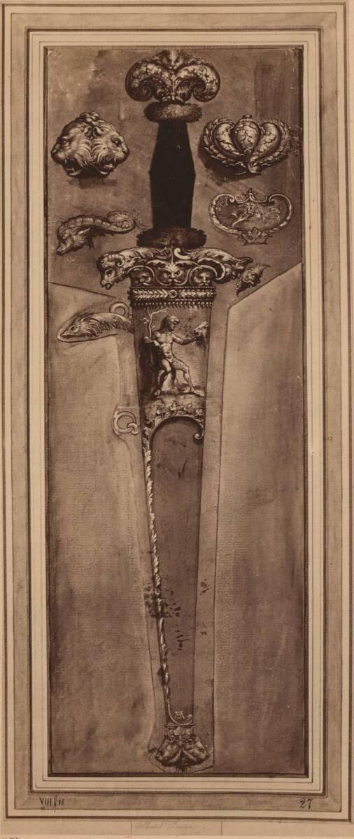 Fotografie einer Federzeichnung eines Dolches in einer Dolchscheide, von Albrecht Dürer oder von Hans Holbein (der Jüngere) (vom Bearbeiter vergebener Titel) von Anonym