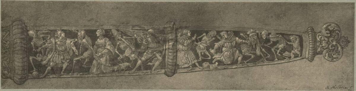 Fotografie einer Entwurfszeichnung für eine Dolchscheide, von Hans Holbein (der Jüngere) (vom Bearbeiter vergebener Titel) von Ad. Braun & Cie.