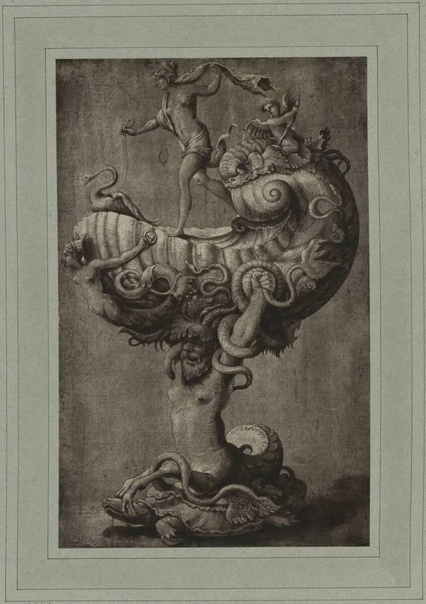 Fotografie eines Entwurfes für eines Nautilusbecher von Hans Holbein (vom Bearbeiter vergebener Titel) von Braun, Adolphe