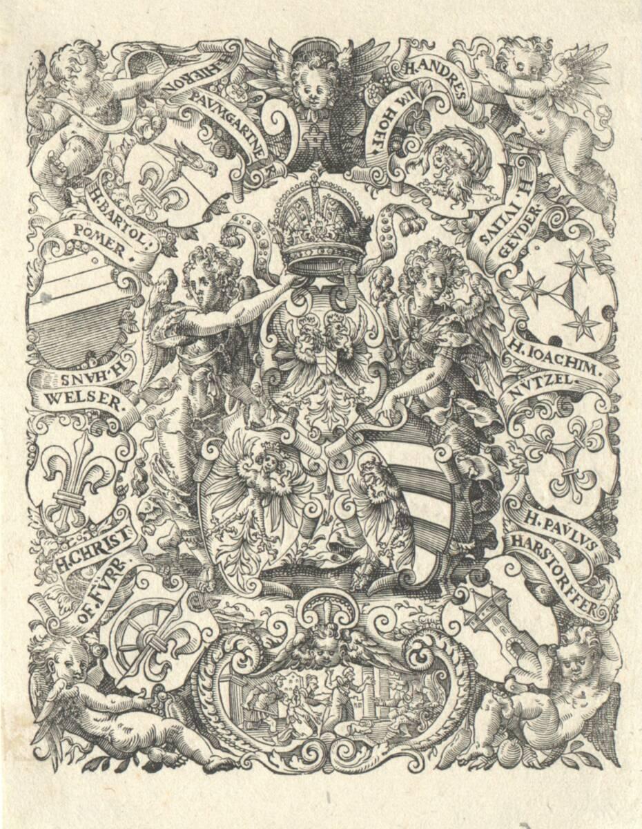 Das Nürnberger Wappen, umgeben von der Wappen der Imhoff, der Geuder, der Nützel, der Harsdorfer, der Paumgärtner, der Pömer, der Welser und der Fürer (vom Bearbeiter vergebener Titel) von Amman, Jost