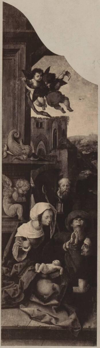 Fotografie der Malerei des linken Flügels eines Triptychons, vermutlich von Jan Gossaert (vom Bearbeiter vergebener Titel) von Anonym