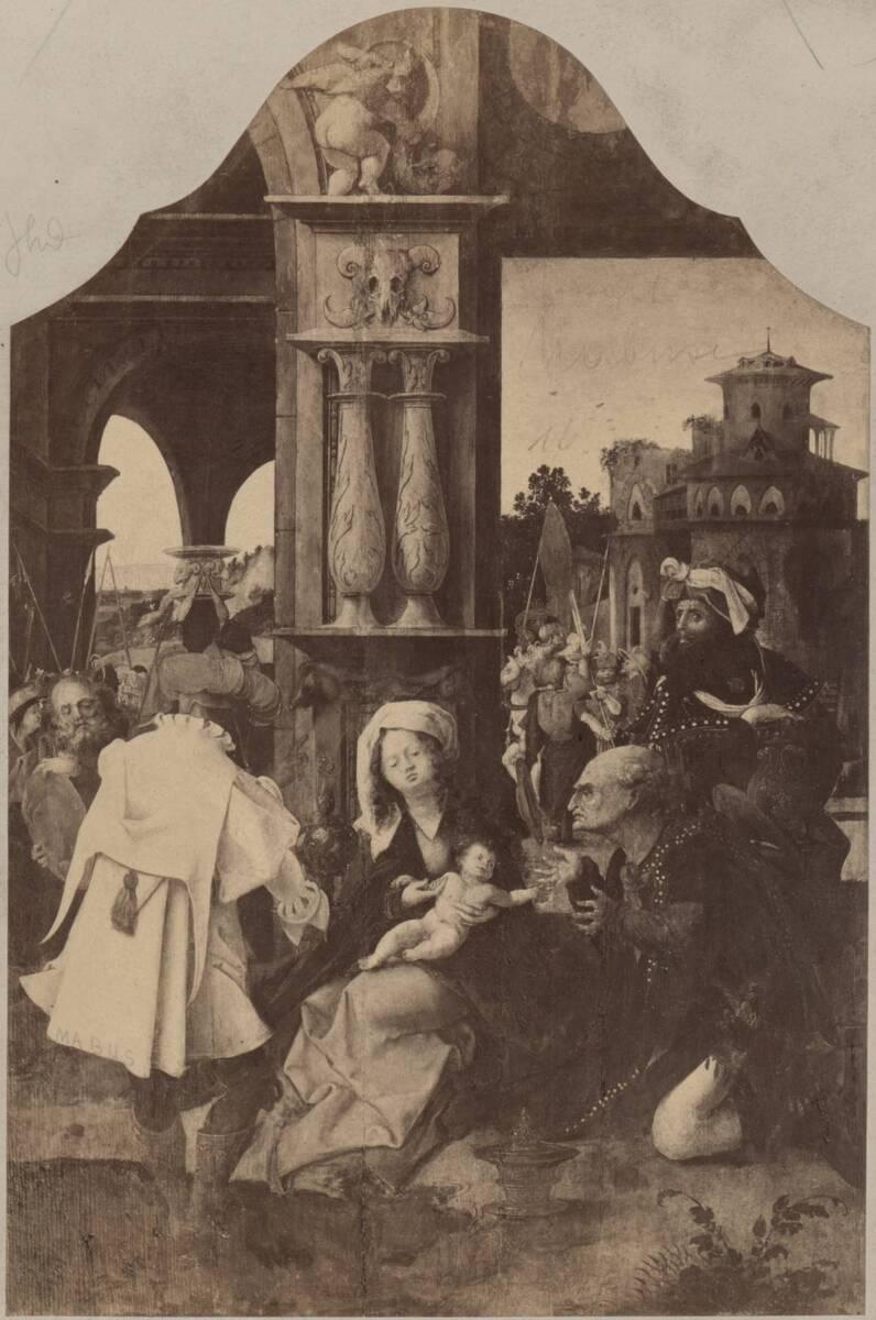 Fotografie der Malerei des Mittelstücks eines Triptychons, vermutlich von Jan Gossaert (vom Bearbeiter vergebener Titel) von Anonym
