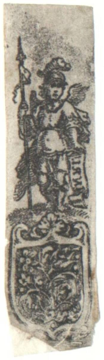 Ornament mit Figur. Abdruck von einem Zierplättchen von Anonym