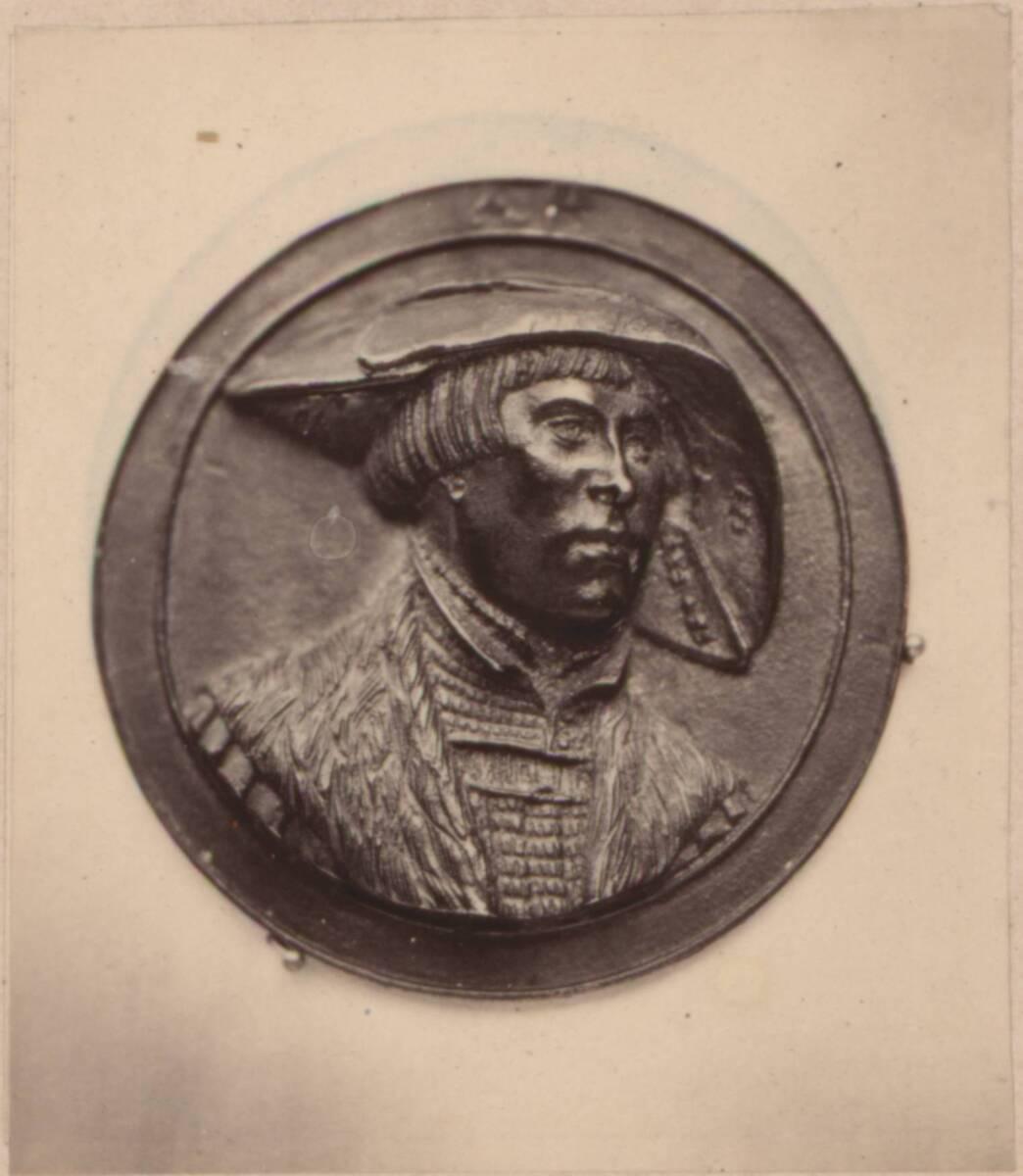 Fotografie einer Medaille mit dem Porträt von Hans Holbein d. J. (vom Bearbeiter vergebener Titel) von Anonym
