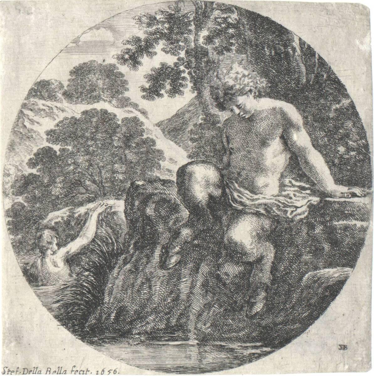 Badender Satyr (vom Bearbeiter vergebener Titel) von della Bella, Stefano