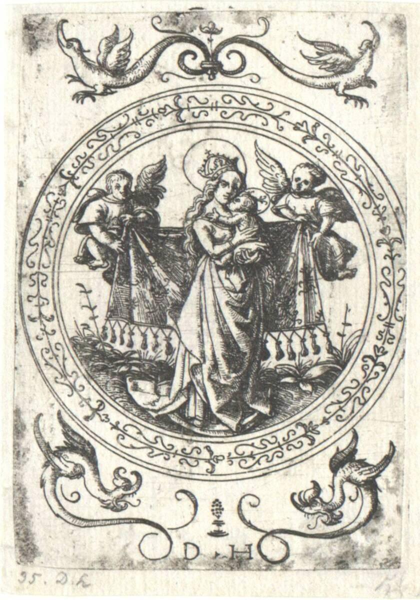 Maria mit dem Kind in ornamentaler Umrahmung, ohne Funck- Nummer (vom Bearbeiter vergebener Titel) von Hopfer, Daniel