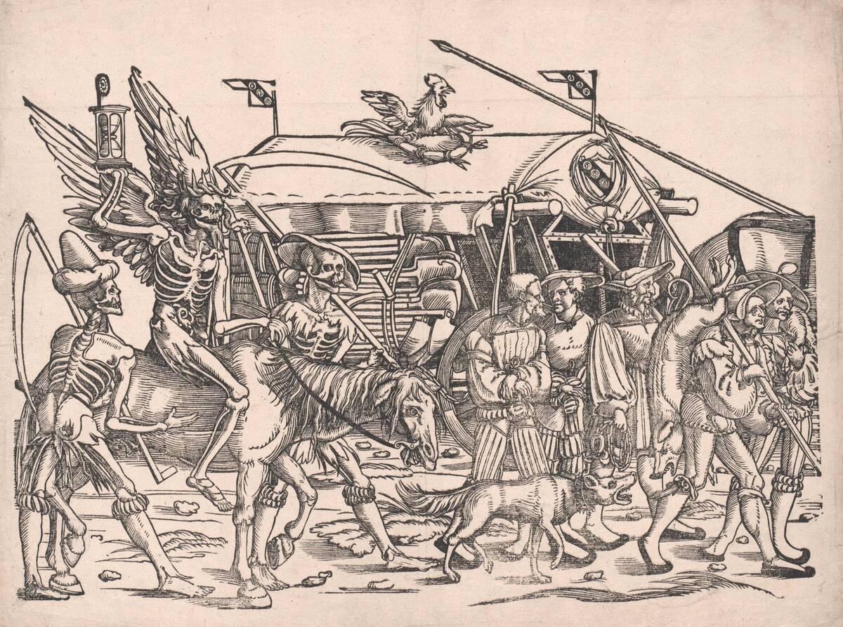 Blatt 4 aus dem großen Soldatenzug mit dem Tod zu Pferde in vier Teilen (vom Bearbeiter vergebener Titel) von Beham, Sebald