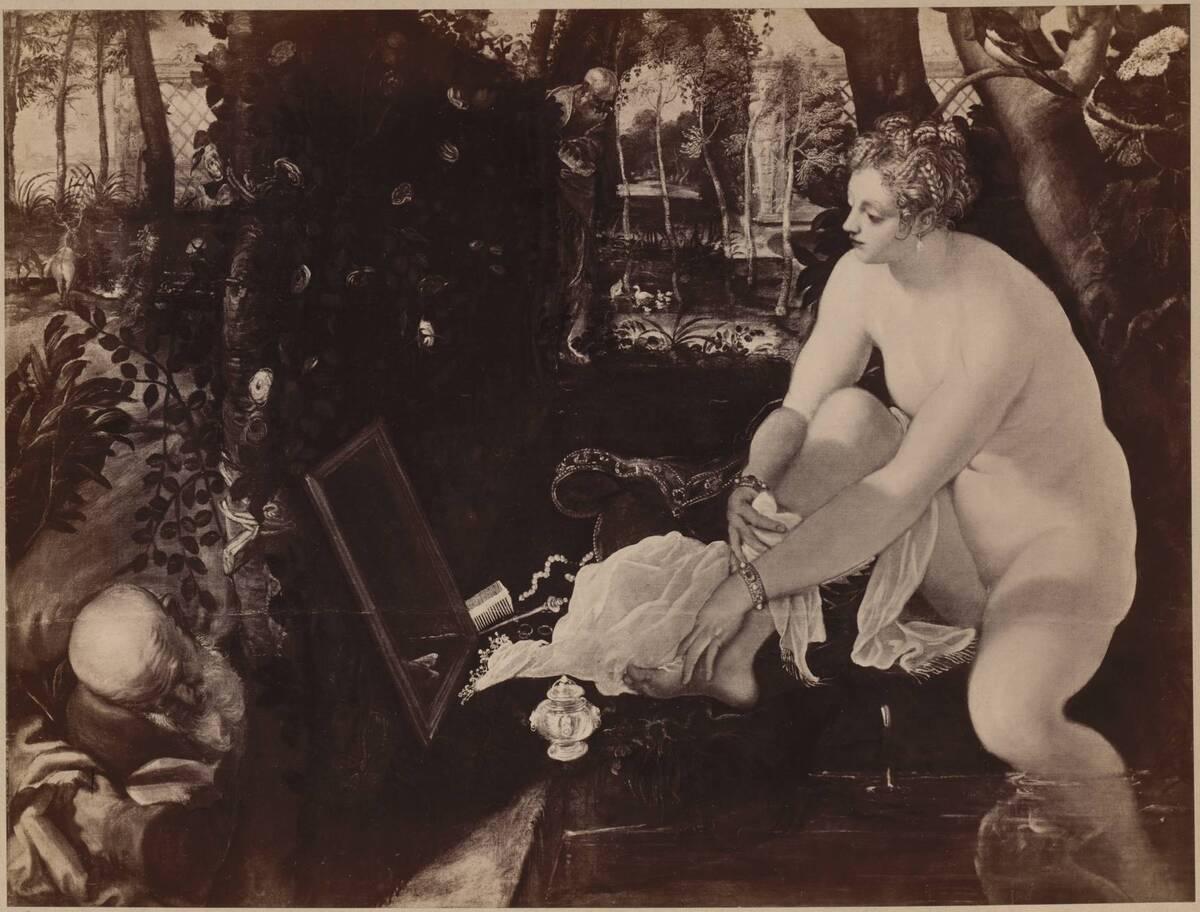 """Fotografie des Gemäldes """"Susanna im Bade"""" von Tintoretto im Kunsthistorischen Museum (vom Bearbeiter vergebener Titel) von Löwy, Josef"""