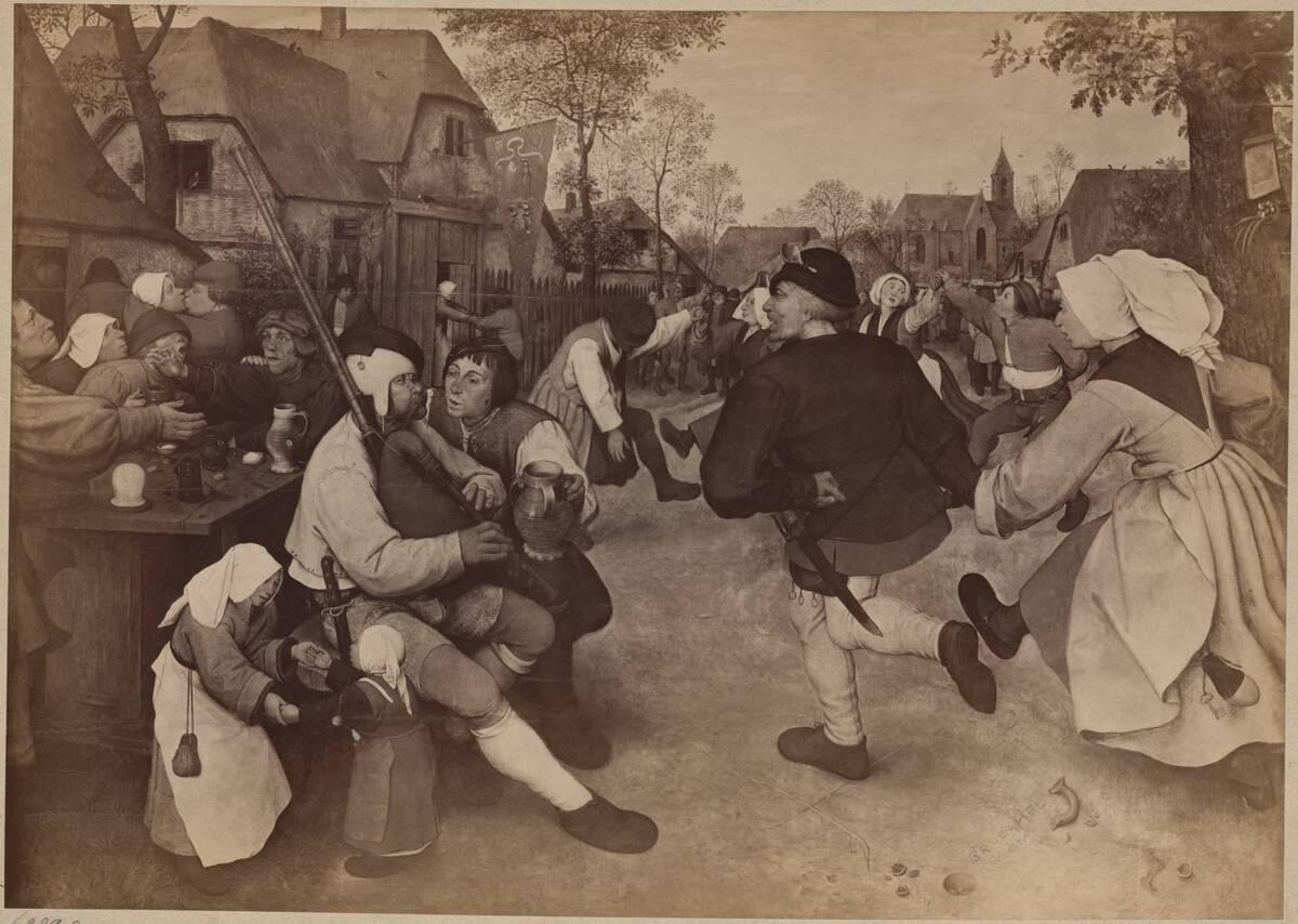 """Fotografie des Gemäldes """"Bauerntanz"""" von Pieter Bruegel d. Ä. im Kunsthistorischen Museum von Löwy, Josef"""