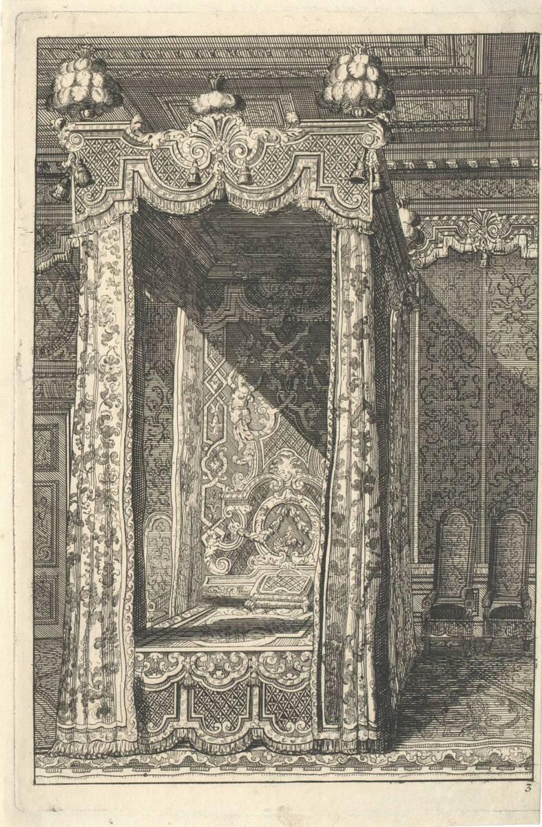 """Himmelbett, Blatt 3 aus der Folge """"Livre dappartement Inventé par Marot Architecte du Roy"""" (vom Bearbeiter vergebener Titel) von Marot, Daniel"""