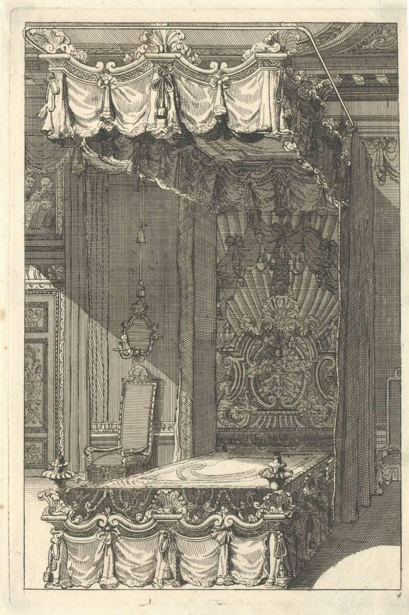 """Himmelbett, Blatt 4 aus der Folge """"Livre dappartement Inventé par Marot Architecte du Roy"""" (vom Bearbeiter vergebener Titel) von Marot, Daniel"""