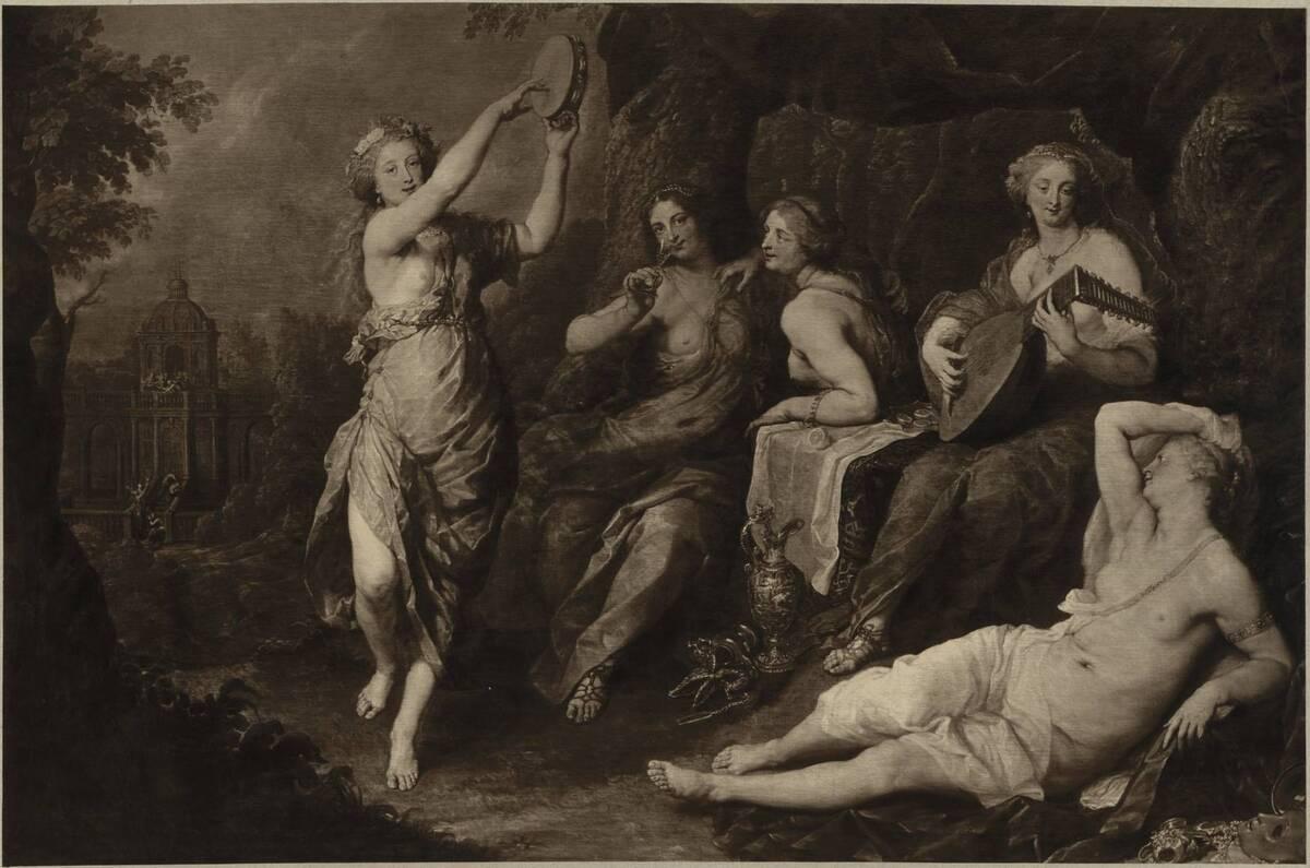 """Fotografie des Gemäldes """"Die fünf törichten Jungfrauen"""" von Jan Boeckhorst von Ad. Braun & Cie."""
