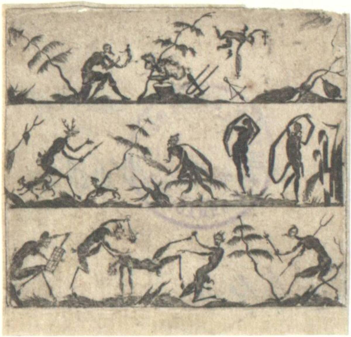 3 übereinanderliegende Friese mit silhouettierten Figuren, Vorlagen für Goldschmiedeverzierungen in Email, nach Mathias Beutler, Schwarzornament von Monogrammist A R