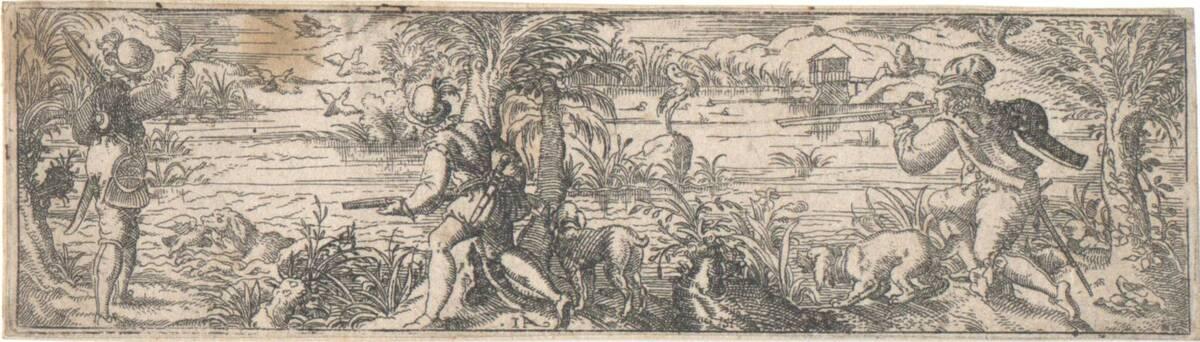 Entenjagd, Blatt aus der Folge von acht Jagddarstellungen, herausgegeben von Stephan Hermann (vom Bearbeiter vergebener Titel) von Amman, Jost