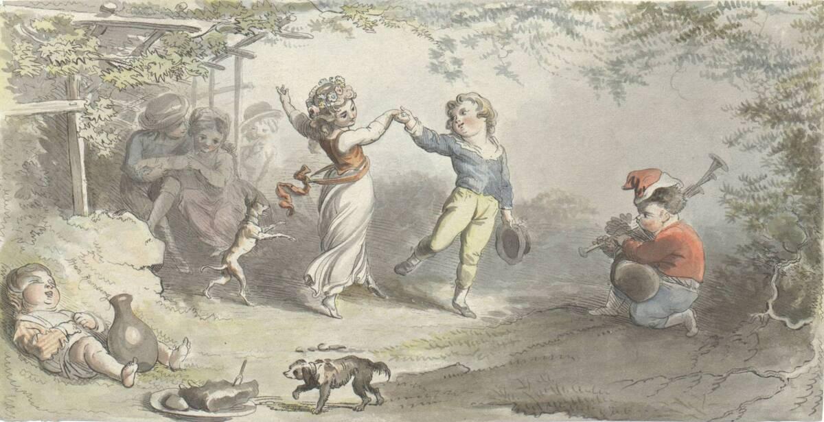 Die kleinen Epikureer oder tanzende Kinder. Vom Künstler kolorierter Druck (vom Bearbeiter vergebener Titel) von Ramberg, Johann Heinrich