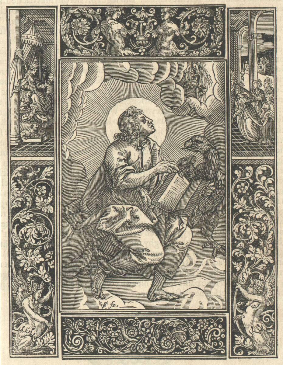 Der Evangelist Johannes, umgeben von vier Zierleisten (vom Bearbeiter vergebener Titel) von Sichem, Christoffel van